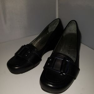 Marc Fisher Womens Black Slip On Wedge Heel Loafer